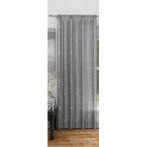 FR TREATED DOVER SILVER CURTAIN PANEL 140CM WIDE