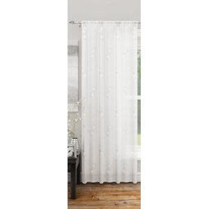 FR TREATED  DOVER WHITE CURTAIN PANEL 140CM WIDE
