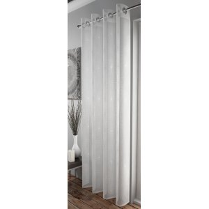 FR TREATED TELFORD WHITE  & SILVER EYELET TOP CURTAIN PANEL