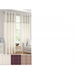 Uttoxeter eyelet lined curtain faux silk