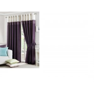 Lichfield aubergine eyelet top lined curtain