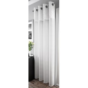 Malton White curtain panel with eyelet top width of panel 135cm