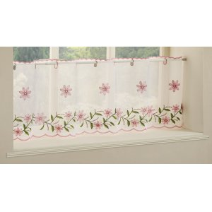 Torquay Pink embroidered  cafe curtain
