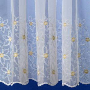 Elle white voile with Lemon  embroidered flowers