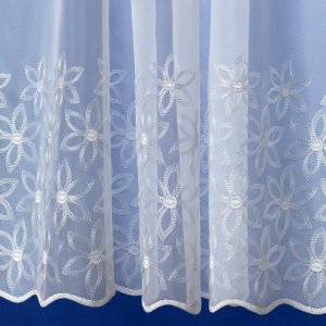 Elle white voile with white embroidered flowers
