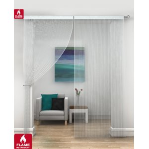 FR Treated white string curtains priced per pair