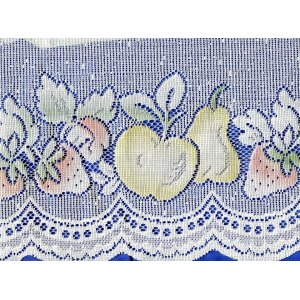 Apples, pears & strawberries cafe curtain roll end 8mtrs 12 inch drop