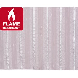 Fire Retardant Chevron White net curtain