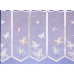 BUTTERFLY WHITE  CAFE CURTAIN  HAND COLOURED : priced per metre