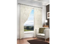 MERTON CREAM VOILE  WITH GOLD EMBROIDERED DESIGN PAIR OF CURTAINS WITH PENCIL PLEAT TOP