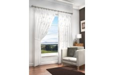 MERTON WHITE VOILE WITH WHITE EMBROIDERED DESIGN PAIR OF CURTAINS WITH TIEBACKS & PENCIL PLEAT HEADI