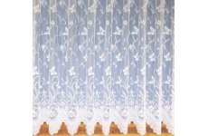 BUTTERFLY WHITE or CREAM NET CURTAIN: priced per metre