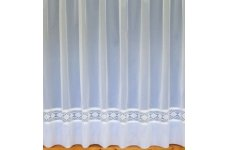 HELEN WHITE NET CURTAIN WITH LACE INSERT