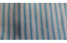BLUE CANDYCANE FABRIC 140CM WIDE FABRIC WHITE WITH BABY BLUE STRIPES PRICE IS PER METRE