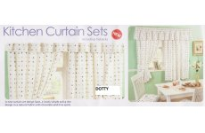 DOTTY KITCHEN WINDOW SETS INCLUDING TIEBACKS PELMET NOT INCLUDED
