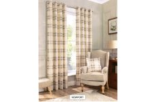 NEWPORT CHECK  LINED CURTAINS 100% BRUSHED COTTON EYELET TOP