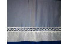 Maidstone white voile with macrame lace insert