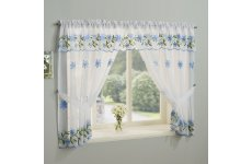 TORQUAY BLUE EMBROIDERED WINDOW SET WITH ATTACHED VALANCE & TIE BACKS