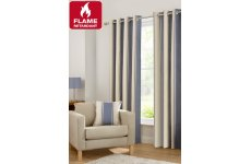 central park blue fire retardant curtains choice of eyelet or pencil pleat header