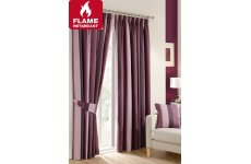Roma aubergine fire retardant pencil pleat curtains