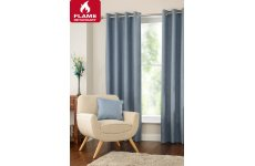 Halo blue fire retardant curtains eyelet or pencil pleat header