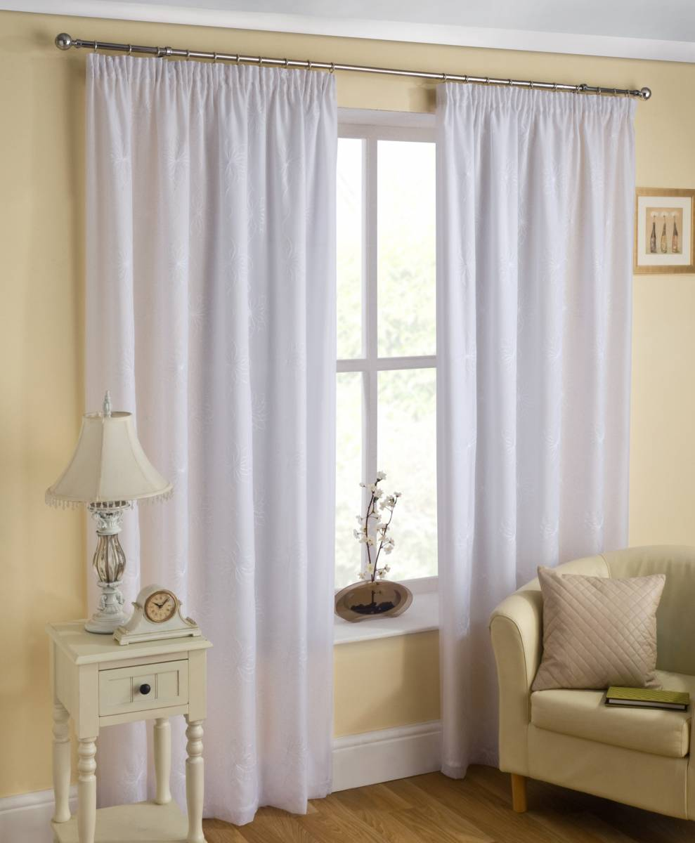 Malaga Lined Voile Curtains White Or Cream Price Per Pair