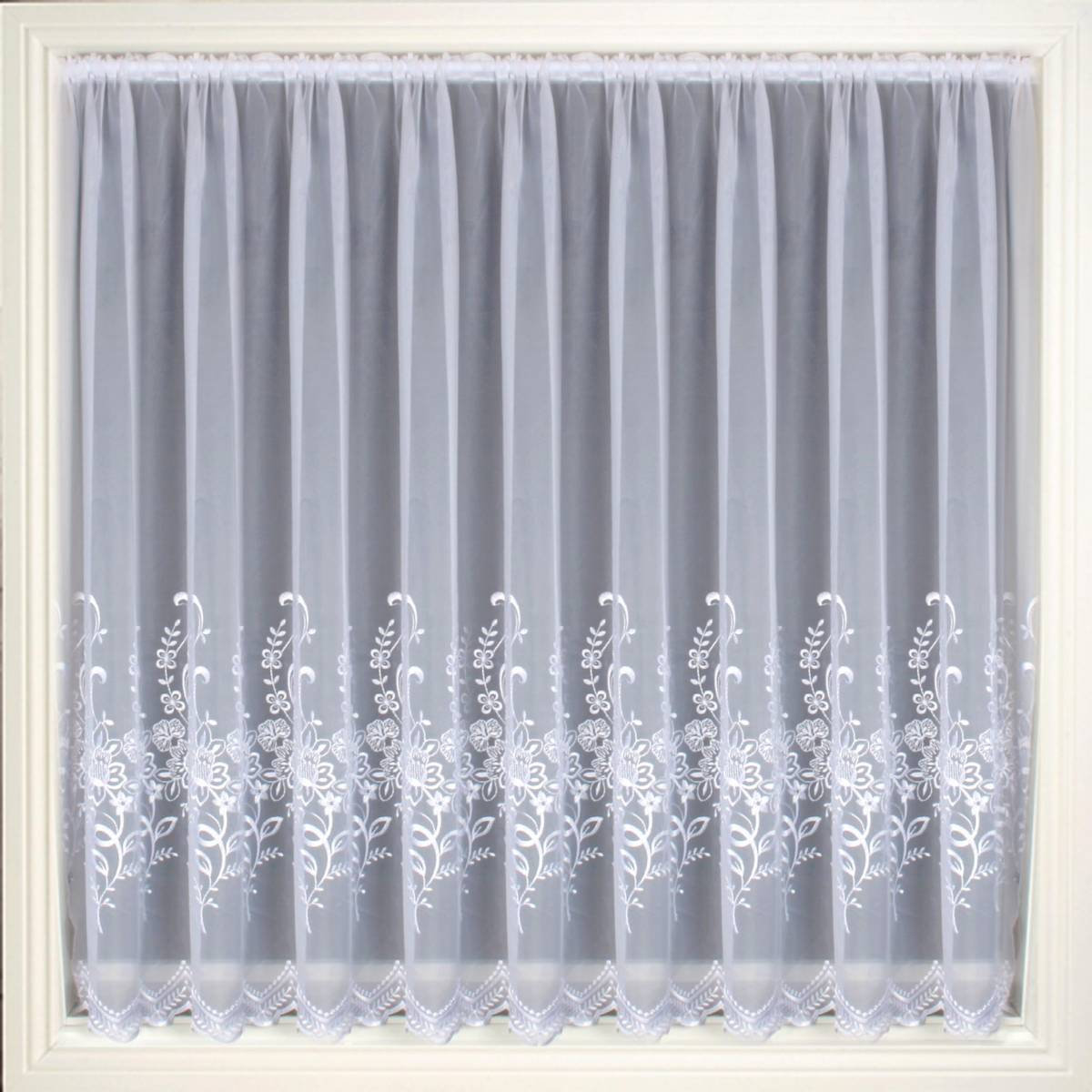 Olivia White Embroidered Voile Net Curtain 2 Curtains