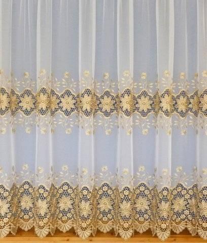 Eliza White Gold Emboridered Voile Net Curtain 2 Curtains