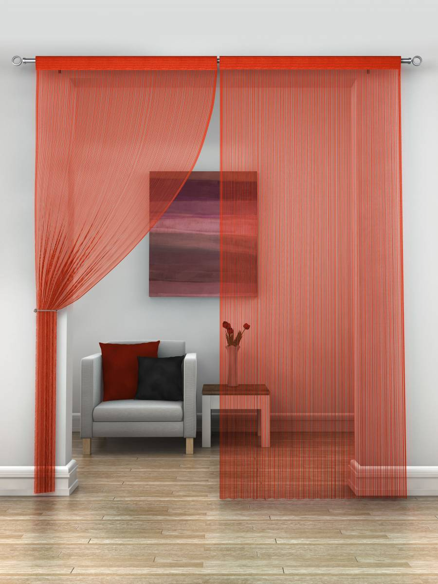 Red String Curtains Priced Per Pair Each Panel 230cm Drop