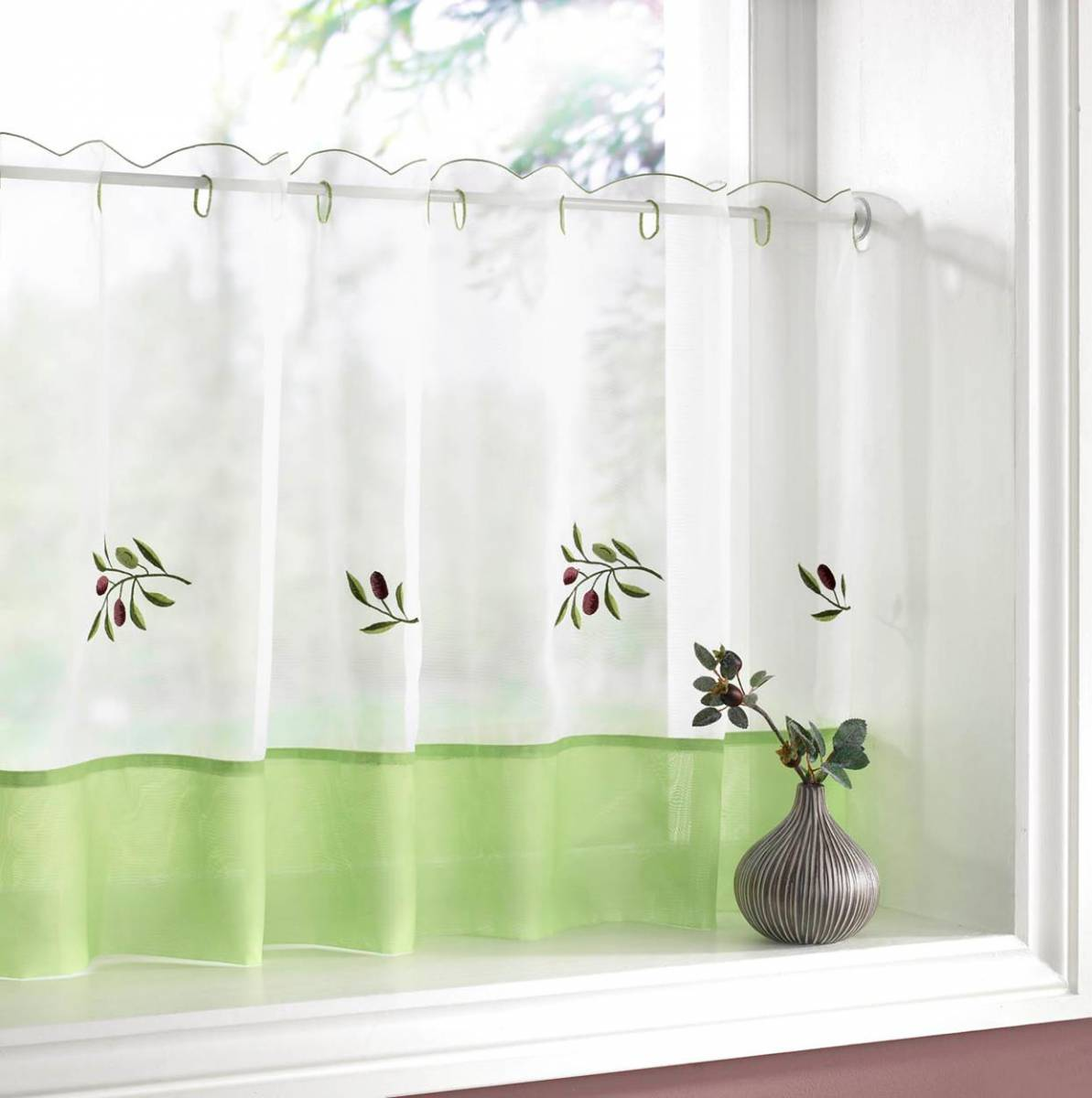 Olives Cafe Curtain 18 Inch Drop X 59 Inch Wide Panels
