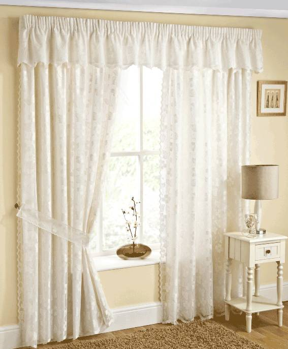 FELICITY LACE NATURAL LINED CURTAINS WITH TIE BACKS