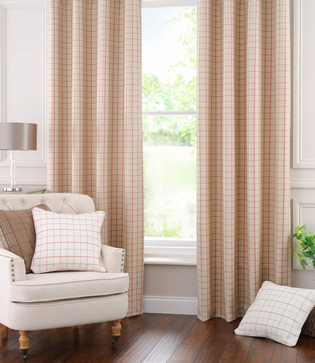 buckingham wool check pencil pleat made to measure net. Black Bedroom Furniture Sets. Home Design Ideas