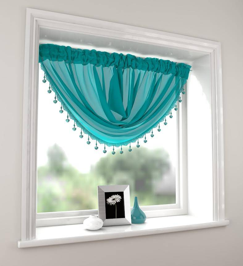 MILLIE TEAL VOILE SWAG Net Curtain 2 Curtains