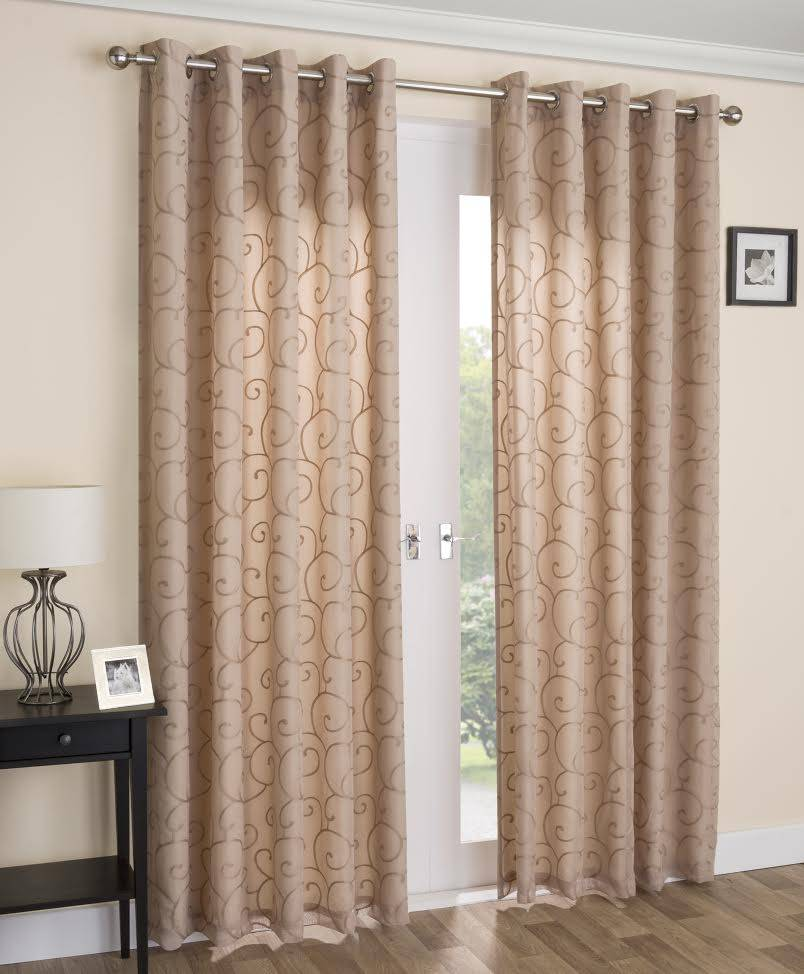 exeter latte voile lined eyelet curtains net curtain 2. Black Bedroom Furniture Sets. Home Design Ideas