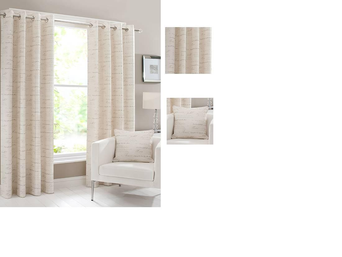 Cumberland floral script curtains Net Curtain 2 Curtains