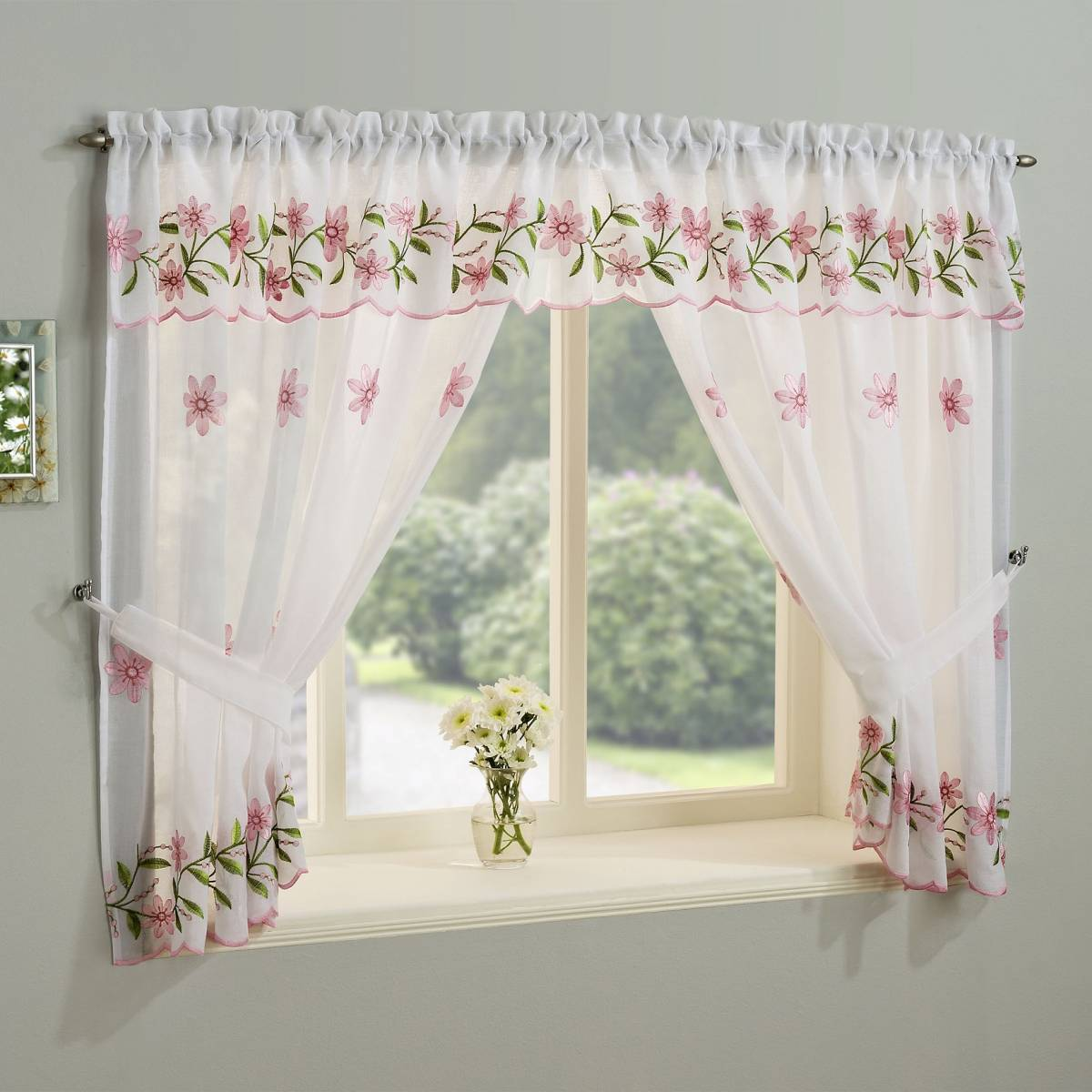 Torquay Pink Embroidered Window Set With Attached Valance