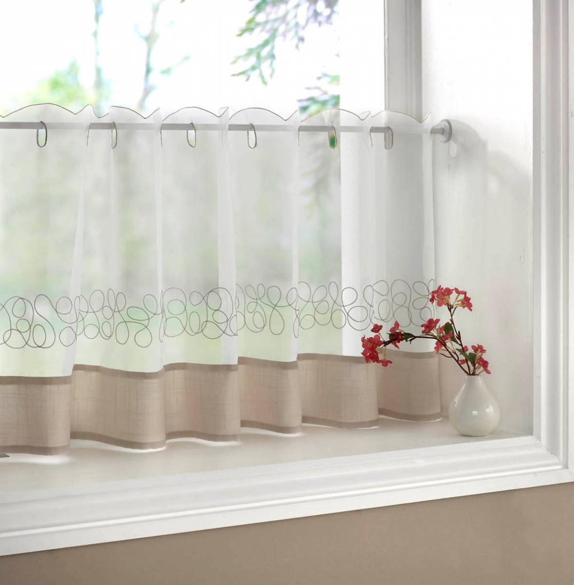Kitchen Curtains Designs: DECO CREAM EMBROIDERED VOILE CAFE CURTAIN EACH CURTAIN