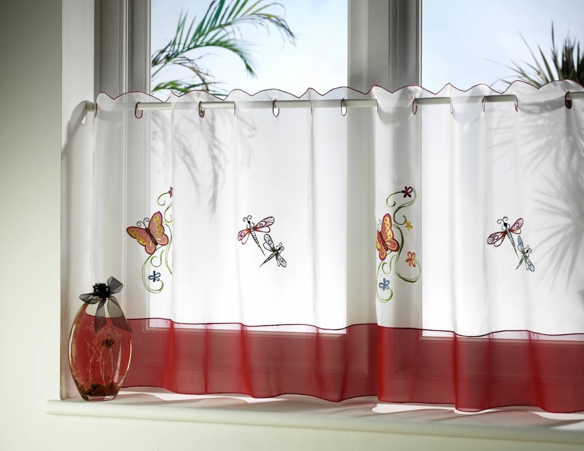 Flutterby Embroidered Cafe Curtain Width Of Curtain 59