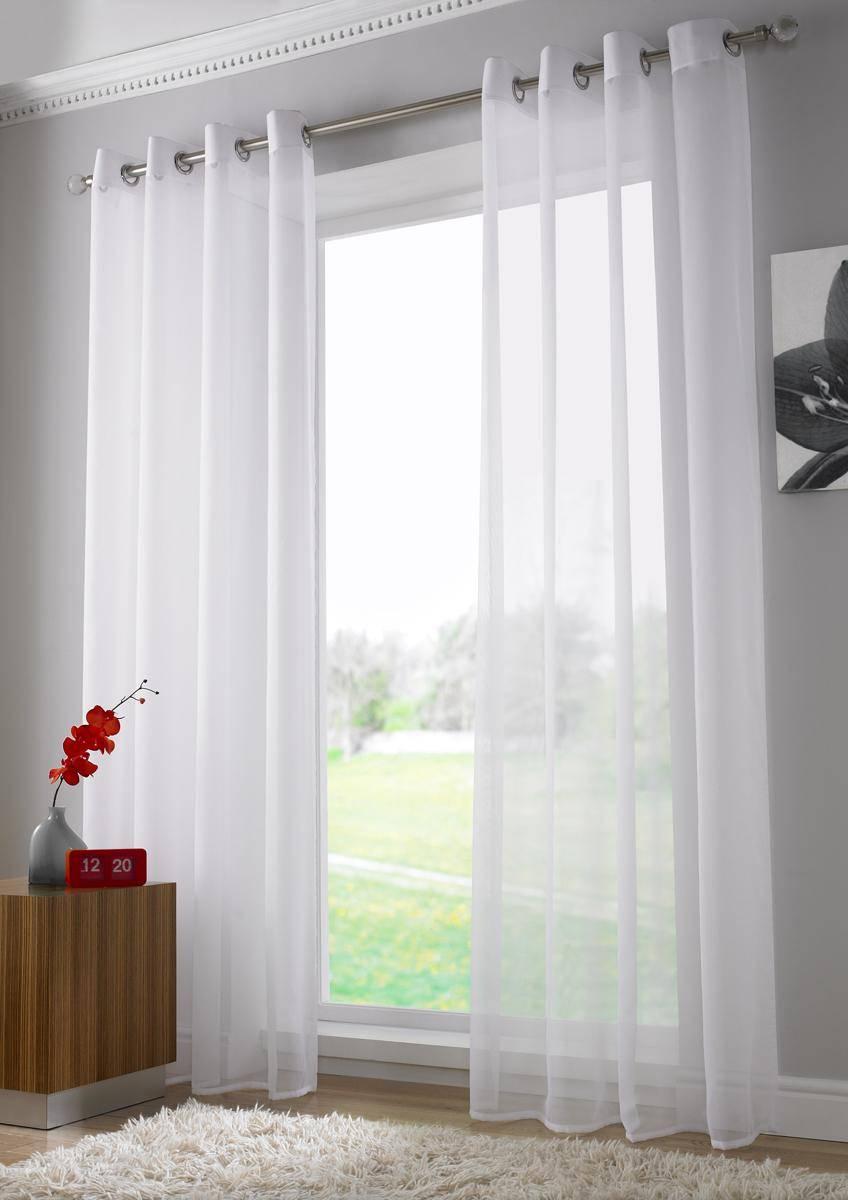 White Plain Voile Eyelet Ringtop Panel Net Curtain 2