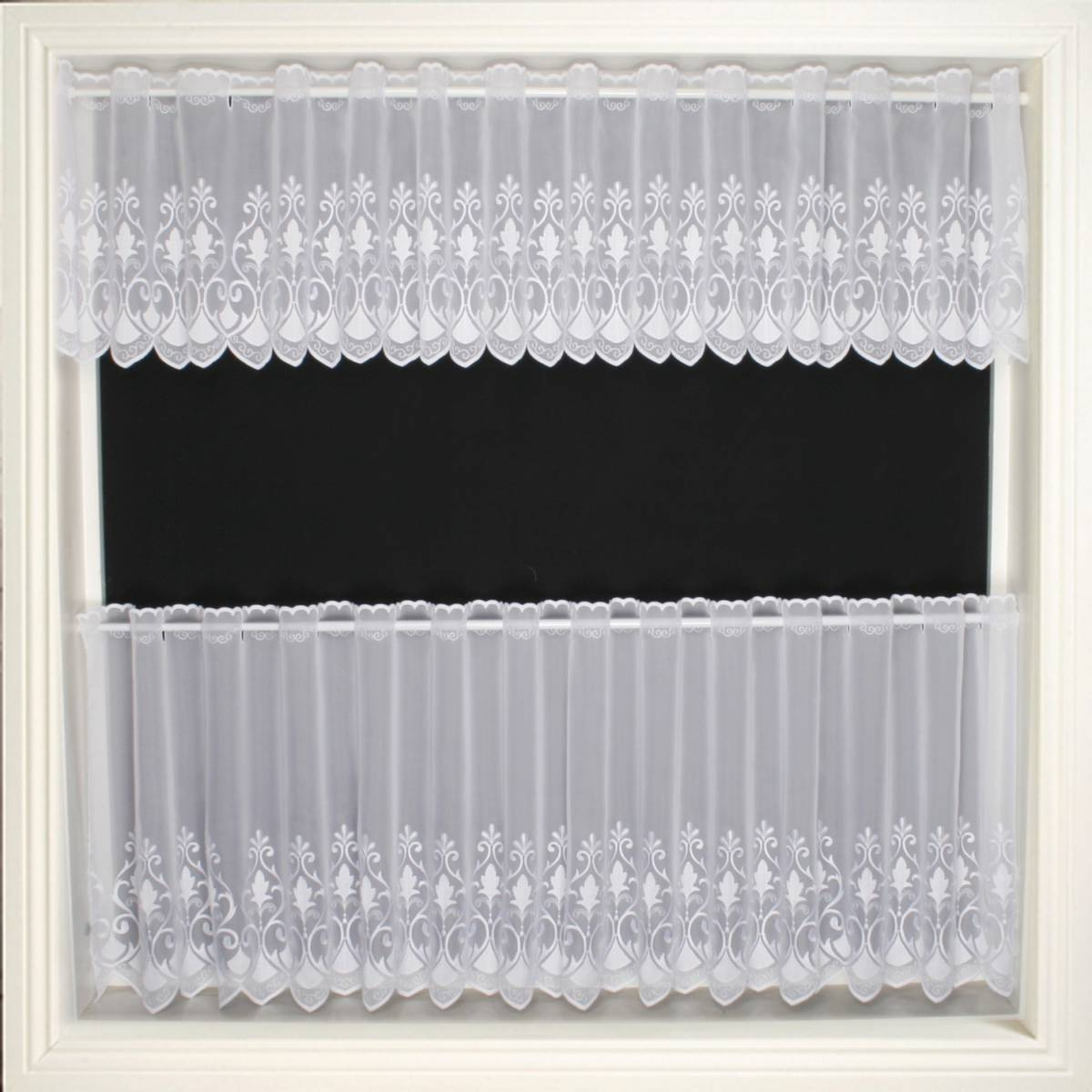 DAVINA WHITE VOILE CAFE CURTAIN 14 Inches Only