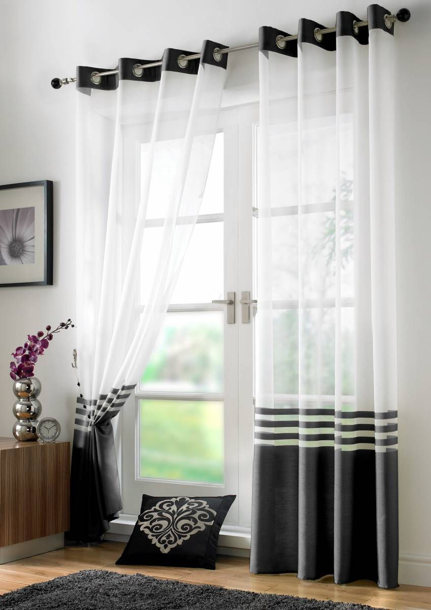 Black White Stripe Curtain Panels