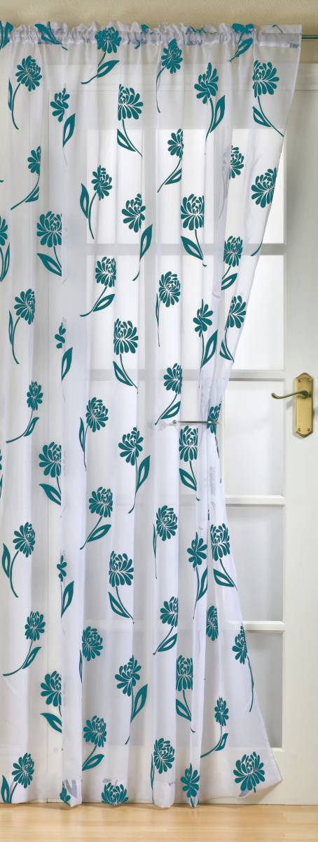Sicily White Teal Panel 59 Inch Wide Panels Net Curtain