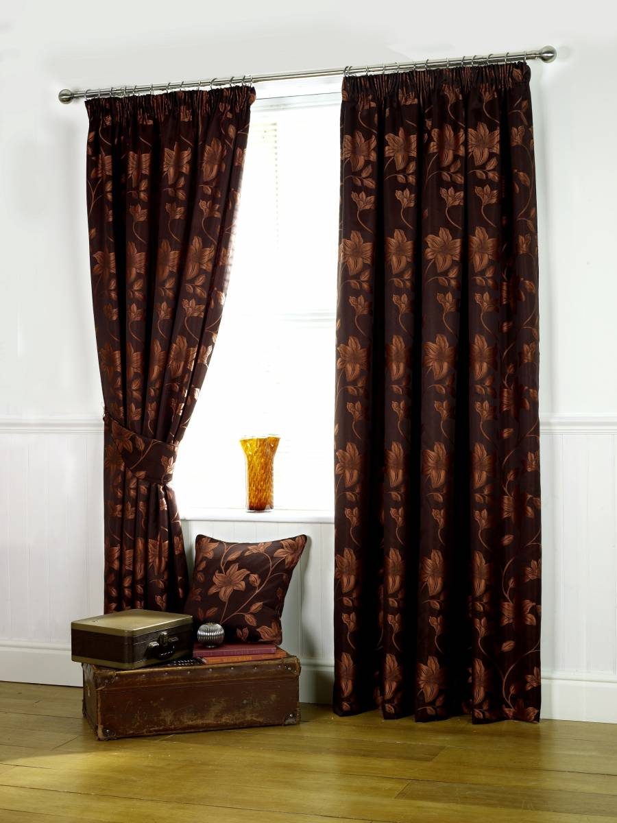 Oriental Copper Lined Curtains Net Curtain 2 Curtains